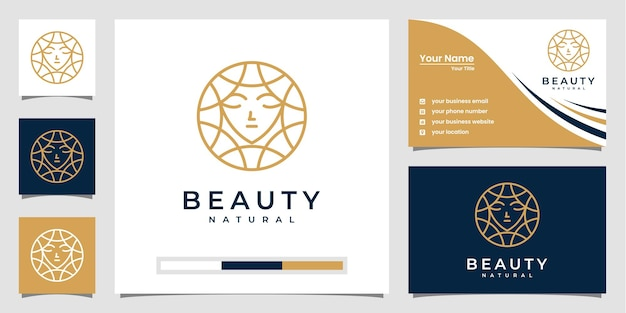 Inspiracja do projektowania logo urody kobiet z wizytówką do pielęgnacji skóry, salonów i projektowania logo spa.