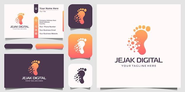Inspiracja do projektowania logo w cyfrowej nowoczesnej technologii footprint