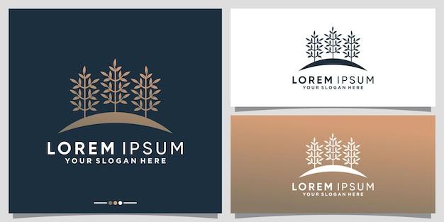 Inspiracja do projektowania naturalnego logo drzewa z unikalną koncepcją premium wektor
