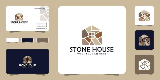 Inspiracja do projektu logo domu z kamienia z projektami wizytówek