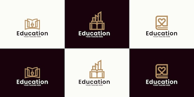 Inspiracja do tworzenia logo edukacji edukacyjnej, budynków serca, budynków książek i książek ołówkowych