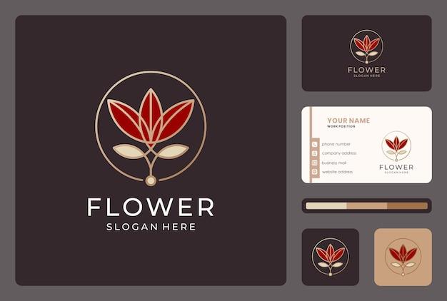 Inspiracja kwiat, kwiatowy, projekt logo przyrody z wizytówką.