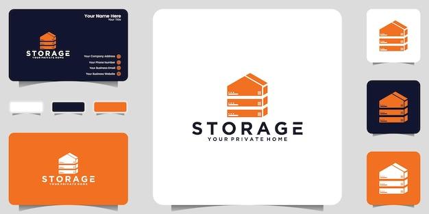 Inspiracja logo domu i ikona przechowywania danych oraz projekt wizytówki
