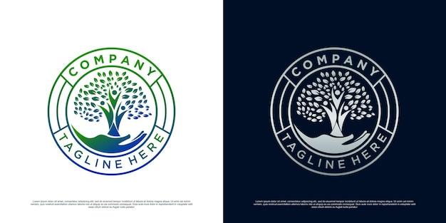 Inspiracja logo drzewo życia premium wektor