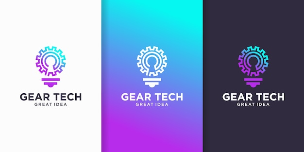 Inspiracja logo gear tech idea, smart tech