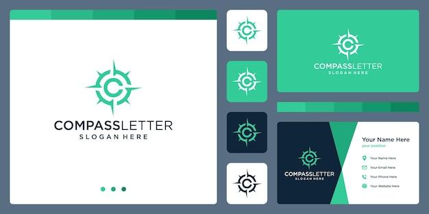 Inspiracja logo kompasu z początkową literą logo c. wektor premium