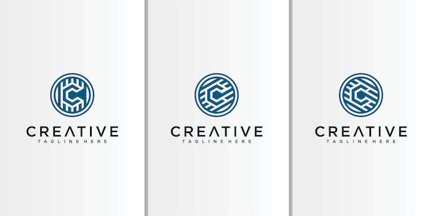 Inspiracja logo line letter c.