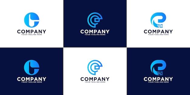 Inspiracja logo litery e monogramem w stylu sztuki linii