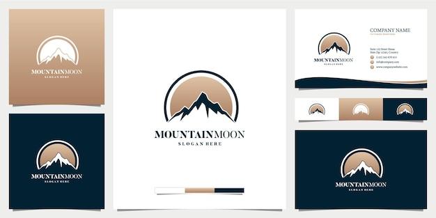 Inspiracja logo marketingowego księżyca górskiego z szablonem wizytówki