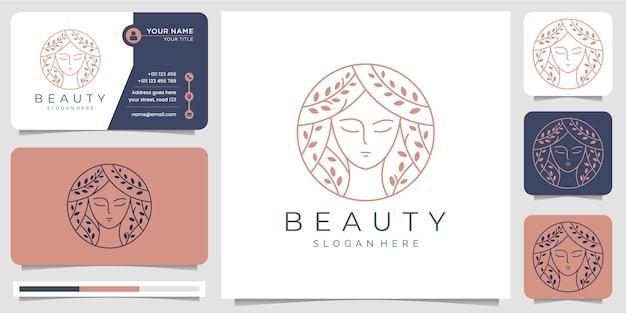 Inspiracja logo piękna kobiety i wizytówka. piękno, pielęgnacja skóry, salony, spa, fryzura, koło, elegancki minimalistyczny. ze stylem grafiki liniowej.