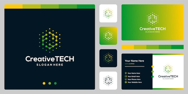 Inspiracja logo początkowa litera f streszczenie w stylu tech i kolor gradientu. szablon wizytówki