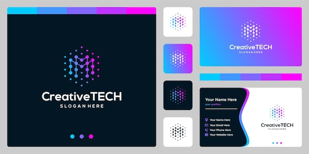 Inspiracja logo początkowa litera m streszczenie ze stylem tech i kolorem gradientu. szablon wizytówki