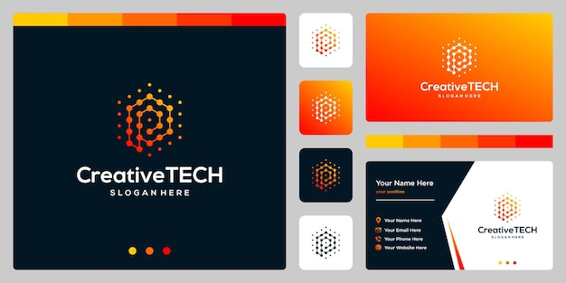 Inspiracja logo początkowa litera p streszczenie w stylu tech i kolor gradientu. szablon wizytówki