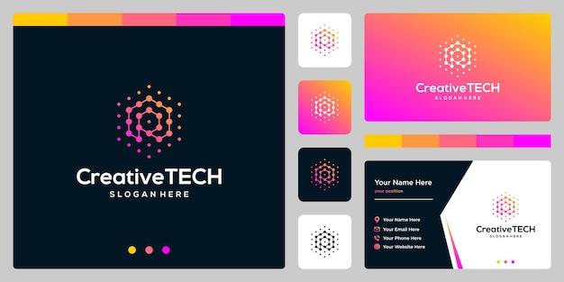 Inspiracja logo początkowa litera r streszczenie ze stylem tech i kolorem gradientu. szablon wizytówki