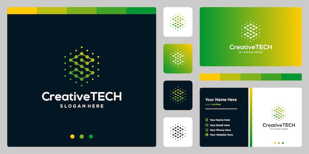 Inspiracja logo początkowa litera s streszczenie ze stylem tech i kolorem gradientu. szablon wizytówki