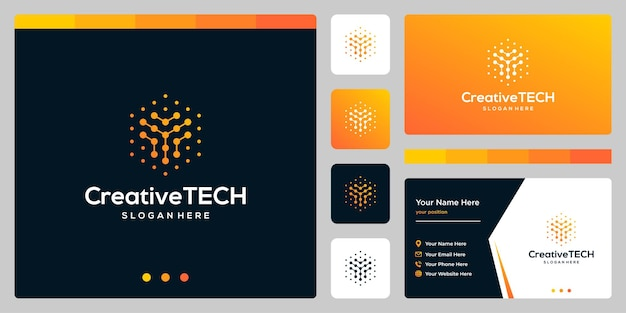 Inspiracja logo początkowa litera y streszczenie ze stylem tech i kolorem gradientu. szablon wizytówki