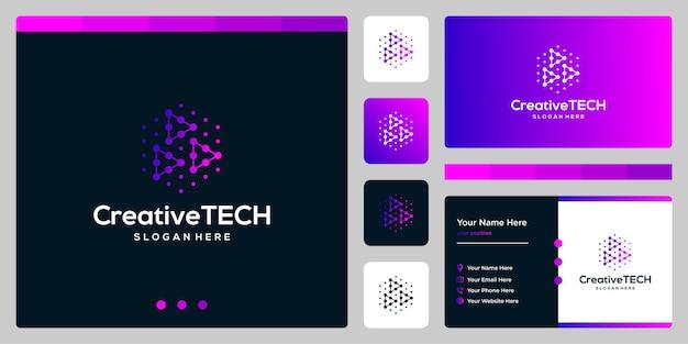 Inspiracja logo przycisk odtwarzania wideo streszczenie w stylu tech i kolor gradientu. szablon wizytówki