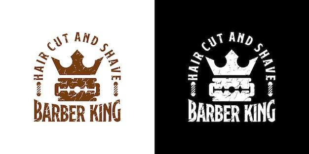 Inspiracja logo sklepu fryzjerskiego, koncepcja brzytwy i korony, projekt w stylu vintage