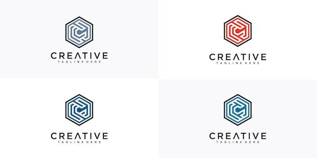 Inspiracja logo sześciokąta litery c.