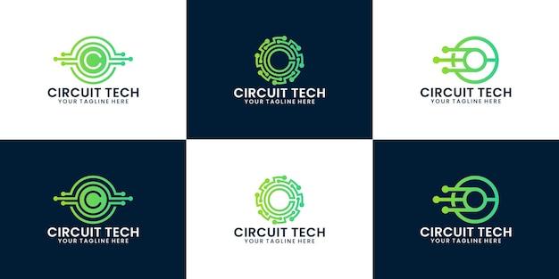 Inspiracja logo technologii obwodów, technologia skręcania i połączenie danych