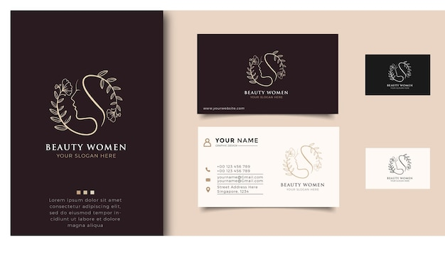 Inspiracja logo urody kobiet z wizytówką do pielęgnacji skóry, salonów i spa, z kombinacją liści