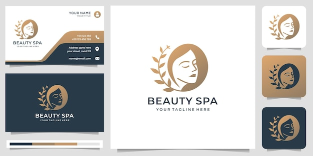 Inspiracja logo urody spa. logo kobiecego salonu, piękna twarz ze stylizowanym liściem, logo kobiety