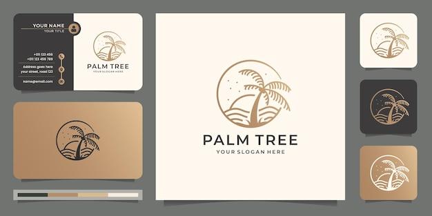 Inspiracja palmowa plaża i koncepcja projektowania logo drzewa z szablonem projektu wizytówki.