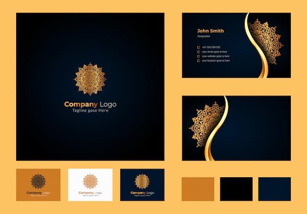 Inspiracja projektowa logo, luksusowa okrągła kwiatowa mandala, luksusowa wizytówka z ozdobnym logo