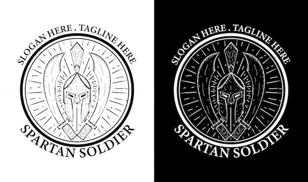 Inspiracja projektowa spartan vintage retro emblem