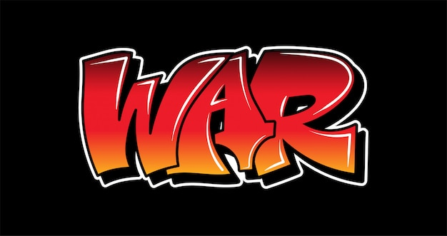 """Inspiracja stylistyką graffiti """"wojna"""". ozdobne napisy."""