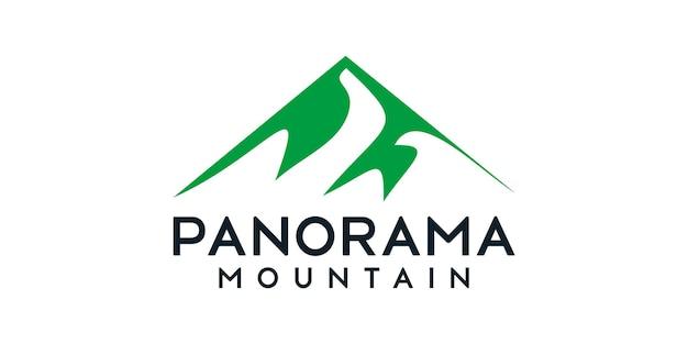 Inspiracja szczytu logo z panoramą gór