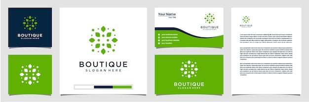 Inspiracja z eleganckim logo liścia. logo wizytówki i papier firmowy