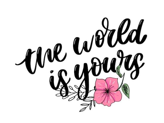 Inspiracje do podróżowania w stylu życia cytują napis. typografia motywacyjna. element graficzny kaligrafii.
