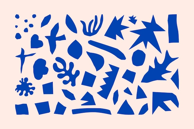 Inspirowane geometryczne i organiczne kształty matisse w modnym minimalistycznym stylu. vector art collage elementy wykonane z ciętego papieru do tworzenia logo, wzorów, plakatów, okładek i pocztówek