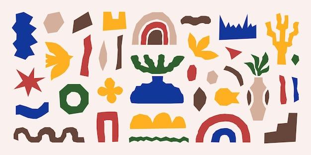 Inspirowany zestaw matisse z jasnymi, kolorowymi wycinanymi organicznymi kształtami i przedmiotami