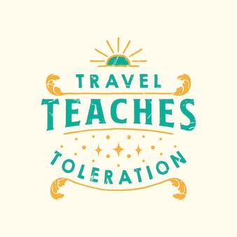 Inspirująca podróż cytuje typografię