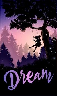 Inspirująca romantyczna ilustracja. dziewczyna na huśtawce drzewa.