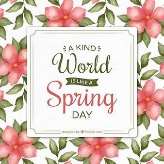 Inspirująca wiosna cytat z pięknych kwiatów akwarela