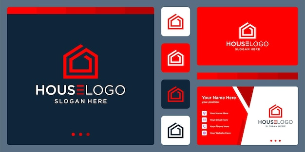 Inspirujące logo budynku. wektor premium