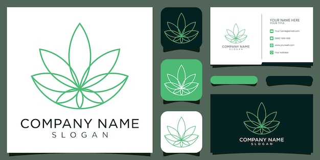 Inspirujące logo cbd, marihuana, marihuana i wizytówka.