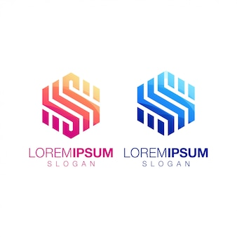Inspirujące logo sześciokąta w kolorze gradientu