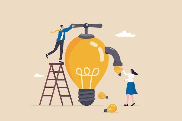 Inspirujące pomysły, mentoring lub coaching, aby motywować lub kierować rozwiązaniami biznesowymi, kreatywność i innowacyjność, aby pomóc rozwinąć koncepcję biznesową, menedżer biznesmena przekręca zawór żarówki, aby dostarczać pomysły.