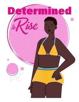 Inspirujące powiedzenie i afrykańska kobieta, ilustracja kreskówka na białym tle.