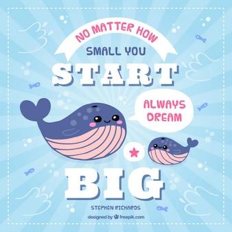 Inspirujący cytat z pięknym wielorybów