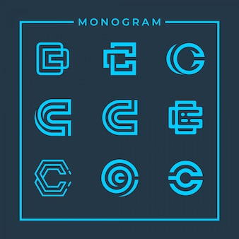 Inspirujący monogram litery c.