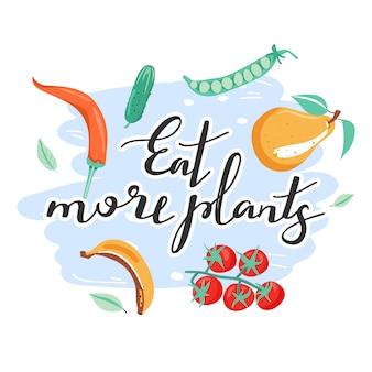 Inspirujący napis z owocami i warzywami