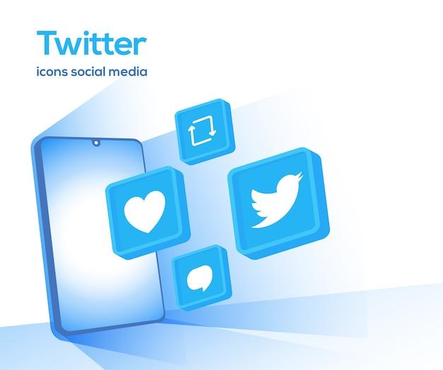 Instagram 3d ikony mediów społecznościowych z symbolem smartfona