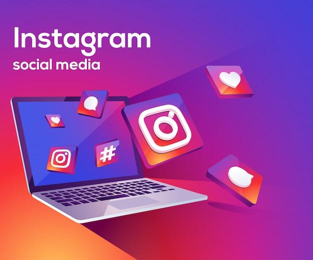 Instagram 3d social media iicon z laptopem dekstop