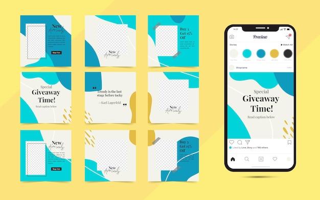 Instagram i facebook plakat układanki w kwadratowej ramce. baner społecznościowy do promocji sprzedaży mody