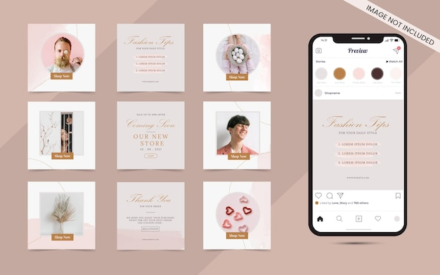Instagram i facebook puzzle z kwadratową ramką w mediach społecznościowych baner reklamowy do promocji sprzedaży mody